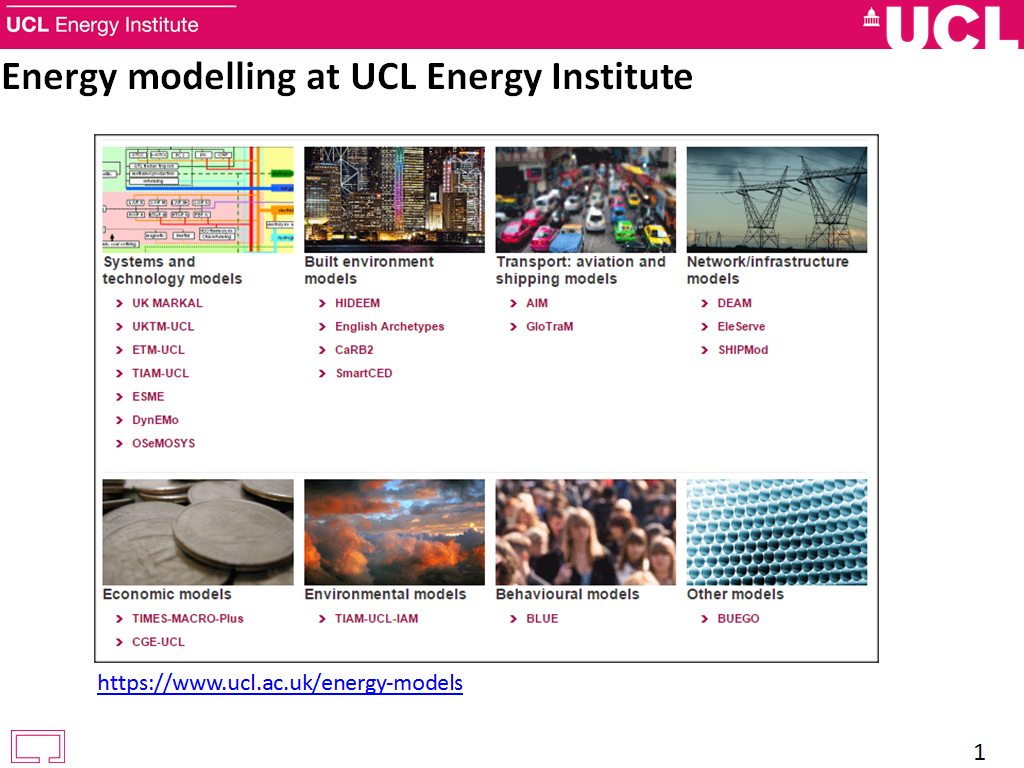 Energy modelling at UCL